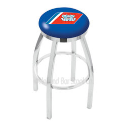 "Holland Bar Stool - Holland Bar Stool L8C2C - Chrome U.S. Coast Guard Swivel Bar Stool - L8C2C - Chrome U.S. Coast Guard Swivel Bar Stool w/ Accent Ring belongs to Military Collection by Holland Bar Stool Made for the ultimate sports fan, impress your buddies with this knockout from Holland Bar Stool. This contemporary L8C2C logo stool has a single-ring chrome base with a 2.5"" cushion and a chrome accent ring that helps the seat to ""pop-out"" at glance. Holland Bar Stool uses a detailed screen print process that applies specially formulated epoxy-vinyl ink in numerous stages to produce a sharp, crisp, clear image of your desired logo. You can't find a higher quality logo stool on the market. The plating grade steel used to build the frame is commercial quality, so it will withstand the abuse of the rowdiest of friends for years to come. The structure is triple chrome plated to ensure a rich, sleek, long lasting finish. Construction of this framework is built tough, utilizing solid mig welds. If you're going to finish your bar or game room, do it right- with a Holland Bar Stool. Barstool (1)"
