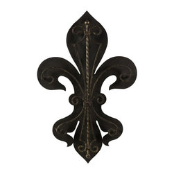 IMAX Worldwide Home - Fleur-De-Lis Two Layer Wall Plaque - Bourbon street fleur de lies wall decor. Made from iron. 15.5 in. W x 2.25 in. D x 23.75 in. H (4 lbs.)