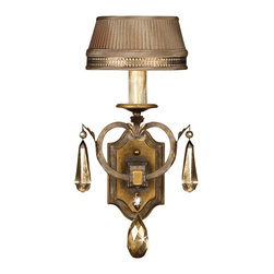 Fine Art Lamps - Golden Aura Sconce, 755550ST - Cast the warmest, richest light upon your favorite formal setting. This wall sconce literally shimmers with an aged patina, pale taupe silken shade and unusual gold-colored crystals.