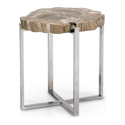 Palecek Sliced Petrified Wood Large Accent Table -