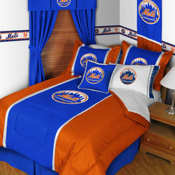 Sports Coverage - MLB New York Mets MVP Micro Suede Bedding - Bedroom Package - Queen - Save big and show your MLB team spirit with New York Mets MVP Micro Suede Complete Bedroom Package which includes a Comforter, Sheet set, Shams, Pillows, Locker Room Bed Skirt and Valance!   The MVP Micro Suede Collection is unique in its appeal to both young and more mature tastes.  Sporting team colors with sporty double porthole jersey edging, This generous-sized Comforter is made of faux suede coupled with jersey mesh on the sides and sporty double porthole jersey edging that stays colorfast, soft, and wrinkle-free. The comforter also has the team's same color on the other side! It is filled with 100% bonded polyester batting.   This Micro Fiber Sheet Set includes one flat sheet, one fitted sheet and a pillow case. Its brushed silk-like embrace provides good insulation and warmth, yet is breathable. It is wrinkle-resistant, stain-resistant, washes beautifully, and dries quickly.   The pillowcase only has a white-on-white print and the officially licensed team name and logo printed in team colors. Made from 92 gsm microfiber for extra stability and soothing texture. The matching sham is 25 x 31 including its flanged edges for that masculine look. Wash all these items in cold water and tumble dry in low heat. Sheet Sets are plain white in color with no team logo.   Includes:  -  Comforter - Twin 66 x 86, Full/Queen 86 x 86,    -  Flat Sheet - Twin 66 x 96, Full 81 x 96, Queen 90 x 102.,    - Fitted Sheet - Twin 39 x 75, Full 54 x 75, Queen 60 X 80,    -  Pillow case Standard - 21 x 30,    - Pillow Sham - 25 x 31,    - 18 Toss Pillow ,    -  Window Valance with Pleats 50 x 15'' ,  - Locker Room Bedskirt - Twin 76 x 39, Full 76 x 54, Queen 80 x 60,