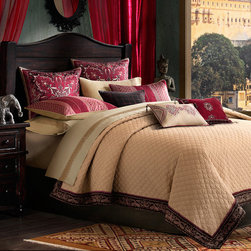 None - Artology Sari Coverlet - This rich gold coverlet is graced with magnificent embroidery. Sari draws inspiration from the ancient hand woven tapestry shawls of Kashmir, India and a rich palette of red, old gold and burgundy symbolize prosperity.
