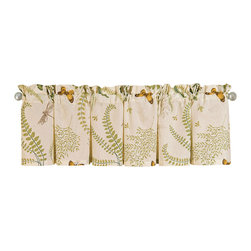 "C F Enterprises - Althea Unlined Valance - Part of the Althea bedroom collection by C F Enterprises, this valance matches the quilt with its pretty ferns and butterflies and colors of green, brown and cream on white. Valance measures 72"" x 15.5"" and is a single layer of fabric, generally suitable for one window."