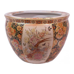 Chinese Porcelain Fish Bowl / Planter Glazed Satsuma Pheasant Design - Available in 6 sizes, this Satsuma styled fishbowl planter features pheasant with floral design.  We import only the highest quality porcelains, fire glazed inside and outside for added strength.  Add an elegant design statement with one of our vase stands  available in a wide assortment of sizes (including pedestal) and woods.  Remember to use the bottom diameter size when selecting your stand.