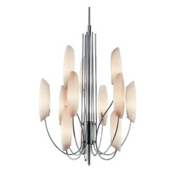 "Kichler - Stella 3-Tier Chandelier by Kichler - Exceptional elegance...a distinctive chandelier that artfully draws the eye upward. The Kichler Lighting Stella 3-Tier Chandelier features vertical lines that are softened by sweeping support arcs and rounded glass shades. With a glossy Chrome finish and cased opal glass shades. An ideal option for today's transitional entryways, great rooms and dining rooms.Since 1938, Cleveland-based Kichler Lighting has created exceptional lighting in a variety of styles, finishes, colors and designs. With a diverse collection of indoor and outdoor lighting in classic and contemporary styles, Kichler Lighting always focuses on making home lighting that is both beautiful and functional.The Kichler Lighting Stella 3-Tier Chandelier is available with the following:Details:12 Satin Etched Cased Opal glass shadesChrome finishRound ceiling canopyTwo 6"" and two 12"" stems (.5"" diameter)UL ListedLighting:Twelve 60 Watt 120 Volt Candelabra Base Incandescent lamps (not included).Shipping:This item usually ships in 3-5 days."