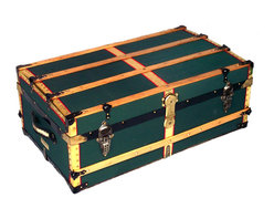 Antique Trunk - Recovered in heavy-weight cotton duck canvas and trimmed with brass sheeting.