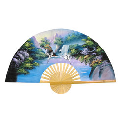 "Oriental Furniture - Fantasy Valley Fan - 40"" - Handcrafted with split bamboo slats and sateen fabric with traditional hand-painted acrylic art, this authentic Thai fan features an intricate, hand-painted landscape with tall mountains, lush trees, flowing water, and flying cranes in a soft color palette. This authentic Oriental art makes a unique, creative housewarming or holiday gift idea."