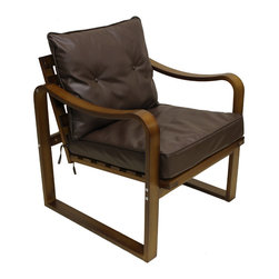 International Caravan - Stockholm Bentwood Faux Leather Slatted Back Chair with Seat and Back Cushions - Fusing together the classic and contemporary into a distinctively European design, the Stockholm Slatted Back Chair with Cushions is built with comfort and style in mind. Comfortable faux leather cushions and a striking 'Bentwood' build are provided.