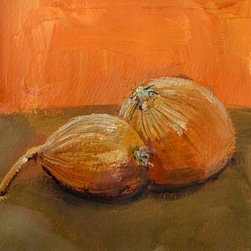 Yellow Onions (Original) by Michelle Calkins - This is a simple still life highlighting two yellow onions as they sit on a tabletop.