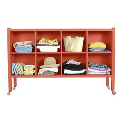 "Large Stow-Away Shelf - This versatile storage piece is great for an office, bedroom, or perhaps ""the drop zone"" of a mudroom or back door entryway. In fact, you can easily change your mind and move it around, because it's on casters."