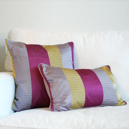 Pyar & Co. - Pyar & Co. Hudson Pillow - The carefully composed mixed-berry palette is accentuated with antique gold, reinforcing the beauty and strength of this woven silk pillow. Available in Medium or Large.
