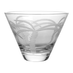 Rolf Glass - Palm Tree Martini Glass, Clear, Tumbler, Set of 4 - Want to get away? The Palm Tree collection lets you enjoy the playfulness of Miami while suffering the winters of Detroit. This beautifully engraved design will sweep you away to the tropics. Your vacation can start right now with just a sip and a setting. Indulgence is yours!   Made in USA.