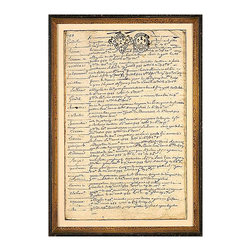 French Chateau Log, Mid 18th Century J Framed Giclee - Smudged, closely-written pages topped with a pair of eighteenth-century heraldic symbols bring handwritten history to your d�cor when you choose a French Chateau Log framed art print for a part of your wall that needs neutral color and a grand impression.  Ideal for the study or bedroom, remarkable when lined up with the coordinating prints along a hallway, the print is gorgeously framed.