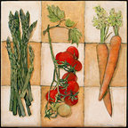 """Tile Art Gallery - Fresh Veggies I - Ceramic Accent Tile, 4.25 in - This is a beautiful sublimation printed ceramic tile entitled """"Fresh Veggies I"""" by artist Charlene Olson. The printed tile displays a vegetable medley. Pricing starts at just $14.95 for a 4.25 inch tile."""