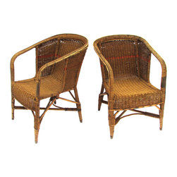 Consigned Antique Seagrass Rope Chairs, Pair - Pair of antique barrel armchairs with orange stripe detail on a woven seagrass rope and bentwood base.