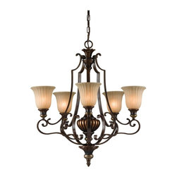 Murray Feiss - Murray Feiss Kelham Hall 1 Tier Chandelier in British Bronze - Shown in picture: Kelham Hall Chandelier in Firenze Gold/British Bronze finish with India Scavo'Glass