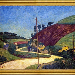 """Paul Serusier-18""""x24"""" Framed Canvas - 18"""" x 24"""" Paul Serusier The Stagecoach Road in the Country with a Cart framed premium canvas print reproduced to meet museum quality standards. Our museum quality canvas prints are produced using high-precision print technology for a more accurate reproduction printed on high quality canvas with fade-resistant, archival inks. Our progressive business model allows us to offer works of art to you at the best wholesale pricing, significantly less than art gallery prices, affordable to all. This artwork is hand stretched onto wooden stretcher bars, then mounted into our 3"""" wide gold finish frame with black panel by one of our expert framers. Our framed canvas print comes with hardware, ready to hang on your wall.  We present a comprehensive collection of exceptional canvas art reproductions by Paul Serusier."""