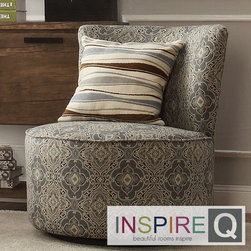Inspire Q - Inspire Q Moda Medallion Floral Print Modern Round Swivel Chair - A round swivel chair is a fun and comfortable addition to any room in your home. This chair features a medallion floral print pattern for a touch of modern style and the sturdy frame and extra padding make this chair a comfortable seat.