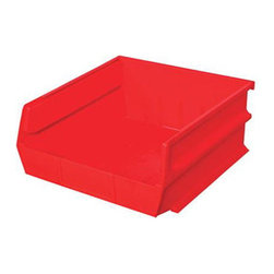 """Triton Products - Stacking, Hanging, Interlocking Polypropylene Bins, 10 7/8"""" X 11"""" X 5"""" Red - The 3-235 series is our second largest and widest Stacking, Hanging, Interlocking Polypropylene Bin system. They are commercial grade high density polypropylene and are available in yellow, red and blue. Unique dual interlocking channel system slides and locks bins together guaranteeing bins will not collapse, cave in or topple into one another."""