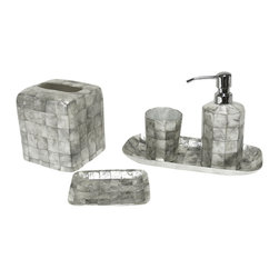 Six Piece Silver Mosaic Capiz Bathroom Set - Small tiles of reclaimed capiz shell lend depth and glitter to a fine mosaic of silver and white in this Six-Piece Bathroom Set.  With high contrast and low-key designs, the half a dozen bathroom essentials are ideal for a unisex space, like a guest bath or master suite, where detail is nonetheless highly prized.  The seashells used in the construction give a magnificent organic effect which subtly plays against the precision of the design.