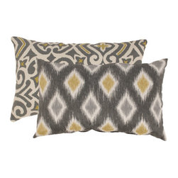 Pillow Perfect - Damask and Rodrigo Rectangular Throw Pillows in Graphite (Set of 2) - - Woven 100% Cotton  - 100% Virgin Recycled Polyester Fill  - Sewn Seam Closure  - Spot Clean Only  - Made In USA Pillow Perfect - 476605