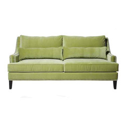 Pierre Sofa, Cannes Autumn Mist, Polished Nickel Nailheads - Here's a good looking sofa from Z Gallerie in a softer green.