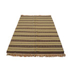 Hand Woven 100% Wool Flat Weave Beige & Brown 4'X6' Durie Kilim Area Rug SH7003 - Soumaks & Kilims are prominent Flat Woven Rugs.  Flat Woven Rugs are made by weaving wool onto a foundation of cotton warps on the loom.  The unique trait about these thin rugs is that they're reversible.  Pillows and Blankets can be made from Soumas & Kilims.