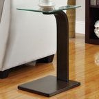 Coaster - Accent Table, Dark Brown - Simple and modern snack table with a sturdy glass top and a dark brown base.