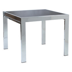 Euro Style - Euro Style Square Dining Extension Table 30300A/30305G - The Duo has a lot going for it. And so many styles to choose from. The tempered glass top comes in black, white, frosted, red and orange. And the steel base comes in black, white or chrome. You can style a room around these tables or find the look that compliments your current decor.