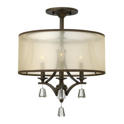 Fredrick Ramond - Fredrick Ramond Mime Transitional Semi Flush Mount Ceiling Light X-ZBF10654RF - This Fredrick Ramond Lighting semi flush mount ceiling light incorporates a classic drum shape with a stylish and modern take on the traditional chandelier design. The arms and frame feature contemporary influencing, with elegant crystal accenting. The frame and matching hardback shade come in your choice of color combinations.