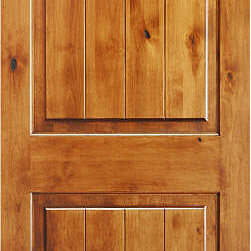 "Mediterranean Doors - V-Grooved 2-panel Knotty Alder Solid Wood Door - Here is a solid wood Knotty Alder with v-grooved panels for a ""plank"" appearance. This door has been stained and finished for a nice, rich color and to bring out the full character of the wood."