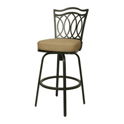 "Pastel Furniture - Westport Outdoor Swivel Barstool - The Westport 30"" height outdoor swivel barstool with aluminum frames with cast aluminum back upholstered in Sunbrella fabric. This beautifully designed outdoor barstool with its engaging mix of color and texture will take your outdoor living to a whole new place."