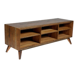Reclamation Company - Hemingway Media Console, Oak, Natural(no Finish) - Mid century modern is an architectural, interior, product and graphic design that generally describes mid-20th century developments in modern design, architecture and urban development from roughly 1933-1965.  We liked this movement in furniture and created the Hemingway collection to complement it.  This line is partially made from wood reclaimed from the Old Crow Distillery in Kentucky and is truly one of a kind.  Because this is a unique handmade piece, please allow a 4 to 6 week lead time. Note: Please use the swatch image for an indication of the wood and finish options.