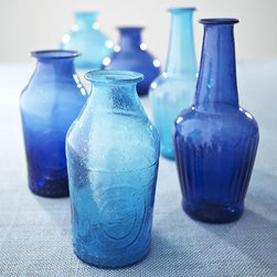 Recycled Glass Vases, Cobalt - This is a darling set of three cobalt glass vases that's perfect for holding red flowers from the garden on Independence Day. I love the low price tag.