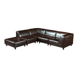 VIG Furniture - Domino Brown Leatherette Sectional Sofa With Matching Ottoman - The Domino sectional sofa will add a elegant modern touch to any decor it's placed in. This sectional comes fully upholstered in a brown leatherette material. High density foam is placed within the cushions for added comfort. The sofa features a stylish sleek modern design that adds to the overall look.