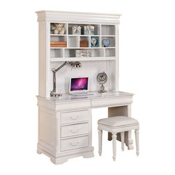 ACME Furniture - Acme Classique Computer Desk and Hutch in White - Classique Computer Desk and Hutch by ACME Furnitureoffers three storage drawers for the computer desk. It has detailed carving hardware knobs and finished in White. The rectangular smooth top wiped easily with step-up look all showcased in raised bead detail decorative finials and bun feet.  For the hutch, ithas rectangular storage shelves for CD storage compartment or book compartment. With this beautiful item allows you to center your computer and any related accessories into one place and help keeps your room tidy and organized.