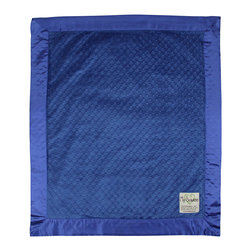 """Dot Velour Baby Blanket, Electric Blue - These velour baby blankets, embossed with a raised dot texture, have become a My Blankee best seller. A celebrity among baby shower gifts, the Dot Blanket also comes in a selection of over twenty-one eye catching colors ranging from soft pastels to bright and vibrant hues, all lined with a matching 3"""" satin ruffled border to make this a luxury baby blanket with personality."""