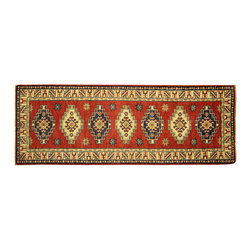 Manhattan Rugs - New Hand Knotted Wool Veg Dyed Super Kazak Red 2x6 Medallion Stay Area Rug H5898 - Kazak (Kazakh, Kasak, Gazakh, Qazax). The most used spelling today is Qazax but rug people use Kazak so I generally do as well.The areas known as Kazakstan, Chechenya and Shirvan respectively are situated north of  Iran and Afghanistan and to the east of the Caspian sea and are all new Soviet republics.   These rugs are woven by settled Armenians as well as nomadic Kurds, Georgians, Azerbaijanis and Lurs.  Many of the people of Turkoman origin fled to Pakistan when the Russians invaded Afghanistan and most of the rugs are woven close to Peshawar on the Afghan-Pakistan border.There are many design influences and consequently a large variety of motifs of various medallions, diamonds, latch-hooked zig-zags and other geometric shapes.  However, it is the wonderful colours used with rich reds, blues, yellows and greens which make them stand out from other rugs.  The ability of the Caucasian weaver to use dramatic colours and patterns is unequalled in the rug weaving world.  Very hard-wearing rugs as well as being very collectable