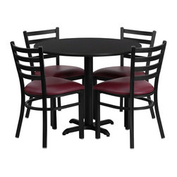 Flash Furniture - Flash Furniture 36 Inch Round Black Laminate Table Set with 4 Metal Chairs - No need to buy in pieces, this complete banquet table and chair set will save you time and money! This set includes an elegant black Laminate table top, X-Base and 4 metal Ladder back chairs. Use this setup for banquet Halls, Wedding Ceremonies, Hotel Conferences, restaurants, Break Room/Cafeteria settings or any other social gathering. The lightweight designer metal chair will enhance any environment. This Commercial Grade table set will last for years to come with its heavy duty construction. [HDBF1005-GG]