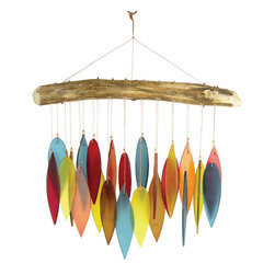 Blue Handworks - Santa Fe Colors Leaves and Driftwood Glass Chime - Handcrafted Wind Chime of Sandblasted Glass and Driftwood by Blue Handworks.