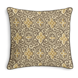 Tan & Gold Moroccan Mosaic Corded Throw Pillow - Black and white photos, Louis XIV chairs, crown molding: classic is always classy. So it is with this long-time decorator's favorite: the Corded Throw Pillow.  We love it in this taupe & mustard yellow block print reminiscent of traditional morrocan mosaics.