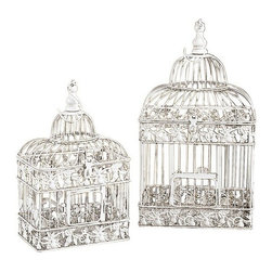 "Benzara - Set of 2 White Metal Square Birds Cages 21.5"" - Set of 2 White Metal Square Birds Cages 21.5"". Dome shape birds cages are made from cast solid metal. Dimension: Tall Bird cage 21.5""H x 8"" diameter and Small Bird cage is 15""H x 6' diameter."