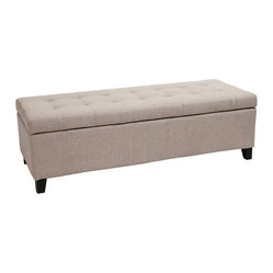 Santa Rosa Beige Tufted Fabric Storage Ottoman Bench