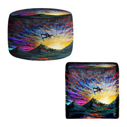 DiaNoche Designs - Ottoman Foot Stool - Night Ride - Lightweight, artistic, bean bag style Ottomans. You now have a unique place to rest your legs or tush after a long day, on this firm, artistic furtniture!  Artist print on all sides. Dye Sublimation printing adheres the ink to the material for long life and durability.  Machine Washable on cold.  Product may vary slightly from image.