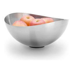 Blomus - ONDEA Versatile Bowl, Small - This lyrical piece by designer Nicolai Fuhrmann for Blomus epitomizes modern elegance. The cool, stainless steel combines with fluid lines to form an unforgettable, versatile bowl. Use for storing and displaying produce, or let it stand on its own as a graceful, sculptural piece.