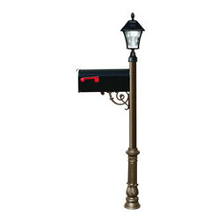 Qualarc, Inc. - Lewiston Post (Bronze) with Economy #1 Mailbox, Ornate Base, Black Solar Lamp - Lewiston Post / Economy #1 Mailbox comes with support brace and fluted base in bronze color. Black Economy #1 Mailbox is made of galvanized metal. Post, support brace and ornate base are made of rust-free cast aluminum with a weather resistant finish. The Bayview Solar Lamp mounts to the top of the post and features a classic gas-light design with real beveled glass panes. With our super-bright LED's and patented cone reflector technology, guests will easily spot your address at night. Using efficient solar-powered technology, the Bayview charges by day adn automatically turns on at night. No wiring is needed. And with a weather-resistant powder-coated cast aluminum frame, no maintenance is required. (Solar lamp availbe in color black only)