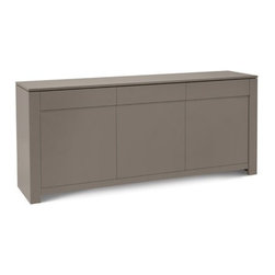 Domitalia - Domitalia | Bass-L Sideboard - Made in Italy by Domitalia. The sleek and sophisticated Bass-L Sideboard provides essential storage in high style. The matte taupe lacquered MDF frame and doors, unencumbered by bulky knobs or pulls, showcase the clean minimalist lines of this versatile piece. Three drawers and three doors conceal ample storage space.