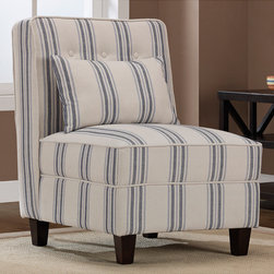 None - Mattie Tufted Slipper Blue/Cream Stripe Chair - This armless stripe chair with crisp blue and white colors will quickly become your favorite seat in the house. The button-tufted details on the back cushion add a little something extra,and solid wood legs with espresso finish add even more appeal.