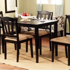 TMS - Metropolitan 5 Piece Dining Set - Dining Set Features: -Comfortable slat back chairs.-Shaker legs.-Contemporary style 5 piece dining set includes a regular table and 4 chairs.-Constructed from sturdy solid rubber wood.-Collection: Metropolitan.-Distressed: No.Dimensions: -Table Dimensions: 29'' H x 45'' W x 28'' D.-Chair Dimensions: 36'' H x 18'' W x 17'' D.