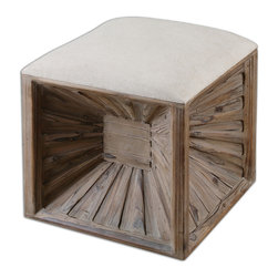 Uttermost - Jia Wooden Ottoman - Here's a unique twist on the traditional ottoman. The Grace Feyock-designed piece features an inverted design. Hewn from weathered fir wood, the unusual ottoman still has a comfy cushion to rest your feet.